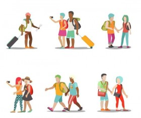 Travel people illustration vector set 03