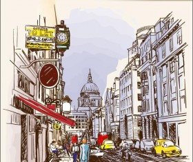 UK london painted sketch vector