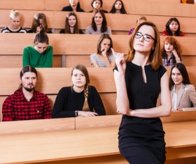 University lecturers and students in class Stock Photo