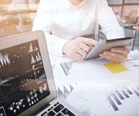 Use tablet to do business data analysis Stock Photo 03