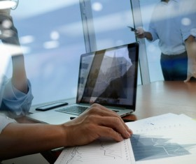 Use tablet to do business data analysis Stock Photo 12