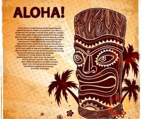 Vintage Aloha poster design vector 03