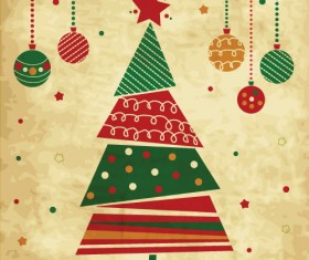 Vintage christmas tree with baubles vector
