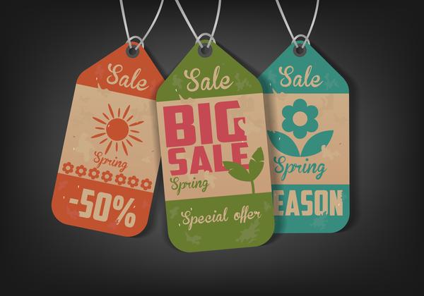 Vintage summer big sale tags vectors