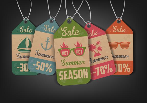 Vintage summer tags vectors set 01