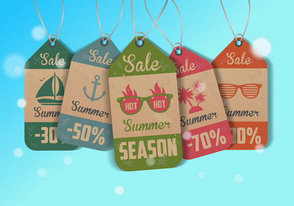 Vintage summer tags vectors set 03