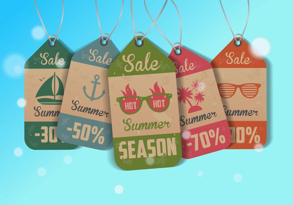 Vintage summer tags vectors set 03