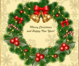 Vintage xmas card with christmas wreath vector