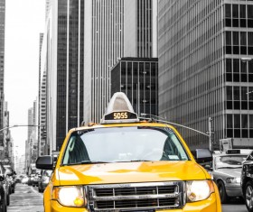 Vintage yellow Taxi Stock Photo 02