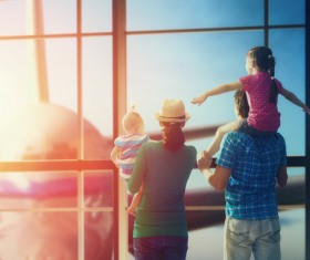 Waiting for the family to travel in the departure lounge Stock Photo
