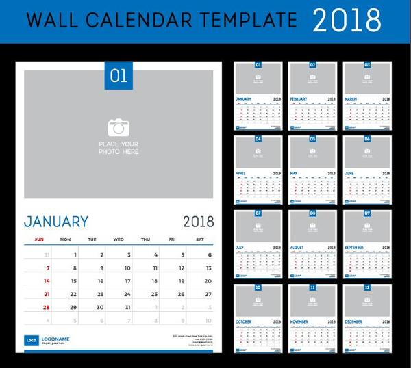Wall 2018 Calendar Template Vector Material Free Download
