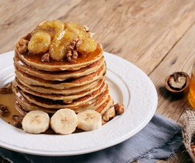 Walnut banana pancakes Stock Photo