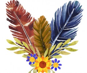 Watercolor feather with flower vectors 01