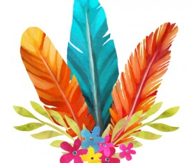 Watercolor feather with flower vectors 02