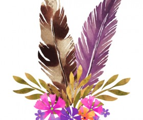 Watercolor feather with flower vectors 03
