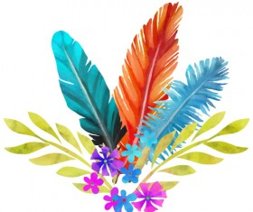 Watercolor feather with flower vectors 04
