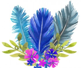 Watercolor feather with flower vectors 05