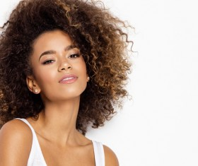 Wear cool clothing fluffy short curly hair young woman Stock Photo 01