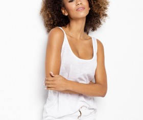 Wear cool clothing fluffy short curly hair young woman Stock Photo 02