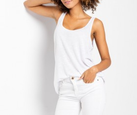 Wear cool clothing fluffy short curly hair young woman Stock Photo 03