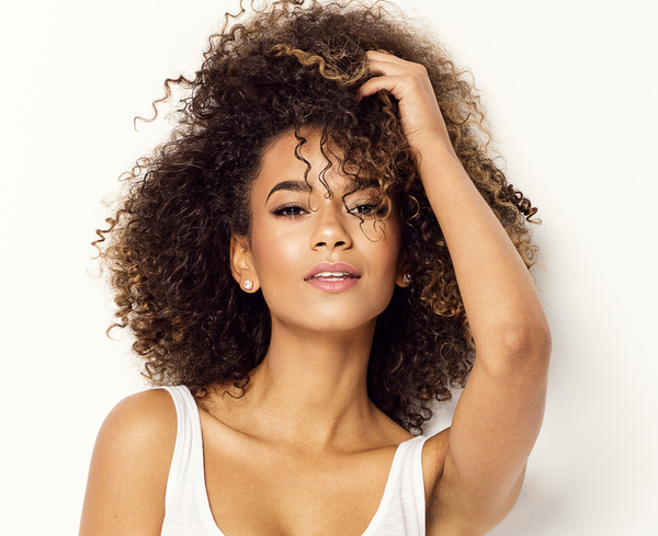 Wear Cool Clothing Fluffy Short Curly Hair Young Woman Stock