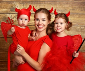Wearing Halloween costume mother and child Stock Photo 04