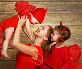 Wearing Halloween costume mother and child Stock Photo 05