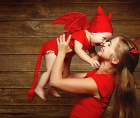 Wearing Halloween costume mother and child Stock Photo 06