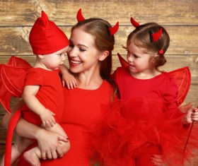 Wearing Halloween costume mother and child Stock Photo 07