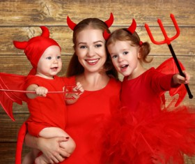 Wearing Halloween costume mother and child Stock Photo 08