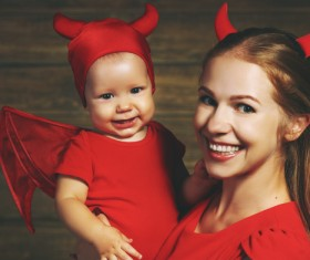 Wearing Halloween costume mother and child Stock Photo 09