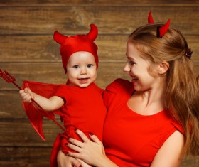 Wearing Halloween costume mother and child Stock Photo 11
