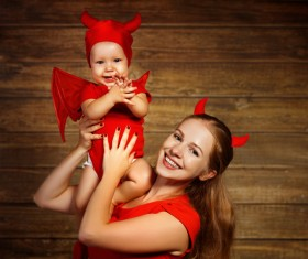 Wearing Halloween costume mother and child Stock Photo 12