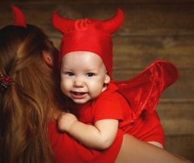 Wearing Halloween costume mother and child Stock Photo 13
