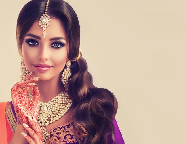 6b0de77fcd Wearing traditional dress beautiful Indian woman Stock Photo 06 free ...