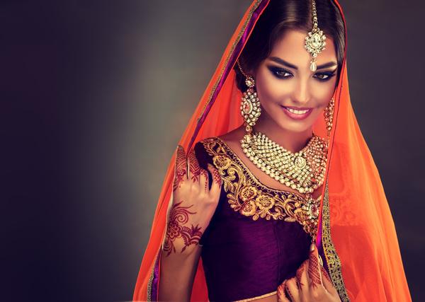 9f864fc7dd Wearing traditional dress beautiful Indian woman Stock Photo 09 free ...