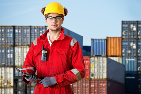 Wharf freight dispatcher Stock Photo