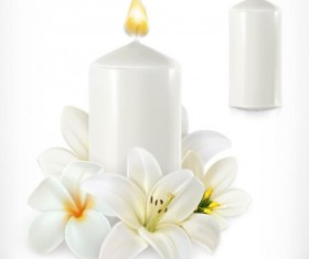White flower with candle vector