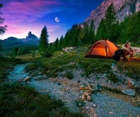 Wild camping man Stock Photo