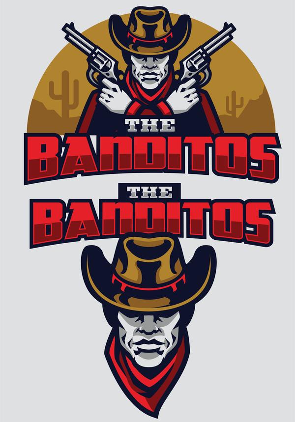 Wild west bandit mascot vector