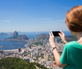 Woman taking photo with smartphone Stock Photo 02