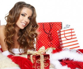 Woman with Christmas gift Stock Photo 02