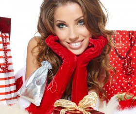 Woman with Christmas gift Stock Photo 03
