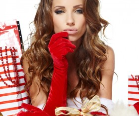 Woman with Christmas gift Stock Photo 04