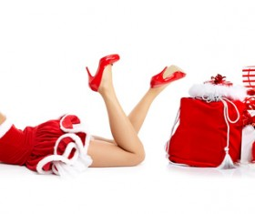 Woman with Christmas gift Stock Photo 05