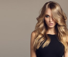 Woman with long curly beautiful hair Stock Photo 02