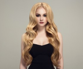 Woman with long curly beautiful hair Stock Photo 03