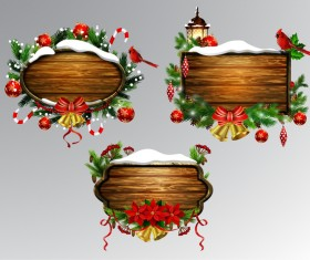 Wooden christmas lables design vector 01