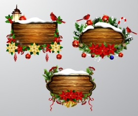 Wooden christmas lables design vector 02