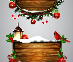Wooden christmas lables design vector 03